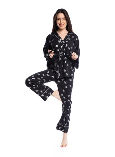 Pamuk & Pamuk Kadın Varak Baskı Lacivert Pijama Takımı Renkli